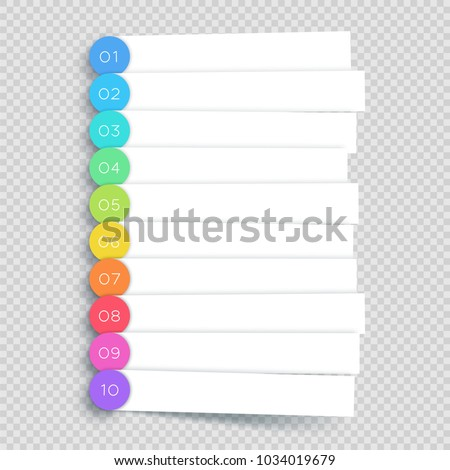 Vector White Banner Steps Infographic List 1 to 10