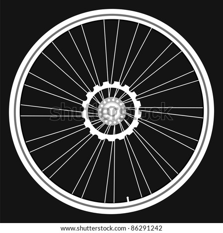 vector white Bicycle wheels isolated on black background. bike wheel Icon. bicycle wheel Icon Vector. bike wheel Icon logo. bike wheel Icon Sign. bicycle wheel Icon Flat. bike wheel Icon design