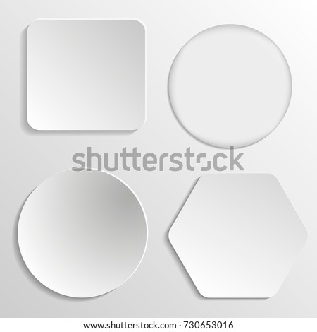 Vector white blank button set. Round square rounded buttons.