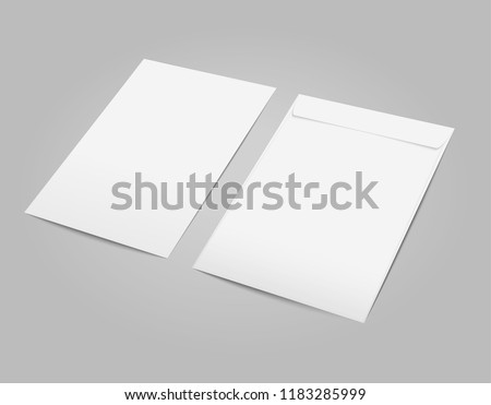 Vector white blank C4 envelope with transparent background in perspective.