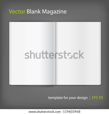 Vector white blank magazine spread. Template for your design