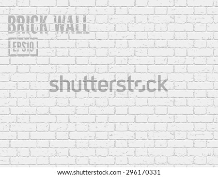 Vector white brick wall pattern. Realistic light brick wall background. Interior white grunge brick wall background. Grunge grey brick wall.