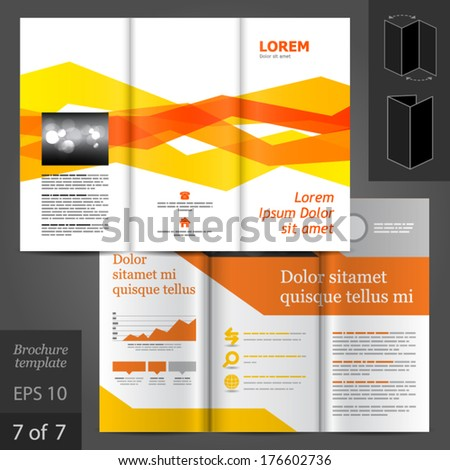 Vector white brochure template design with orange geometric lines