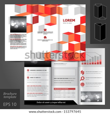 Vector white brochure template design with red square elements. EPS 10 #153797645