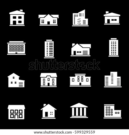 Vector white buildings icons set