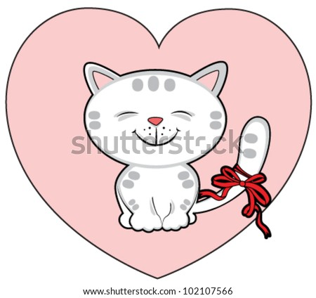 vector white cat into the heart