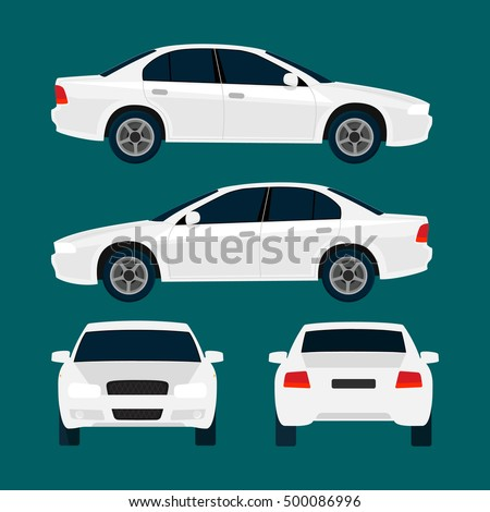vector white city car  four