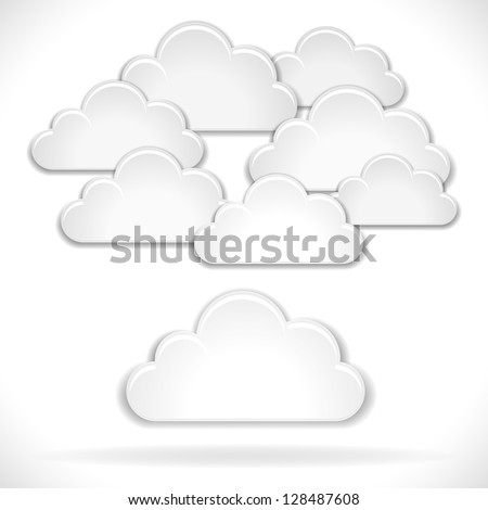 Vector White Clouds isolated on white background