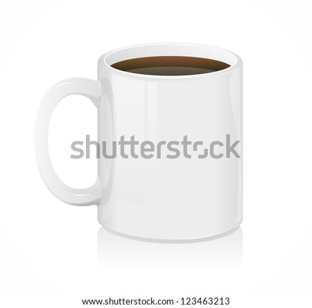 Vector white coffee cup isolated on white