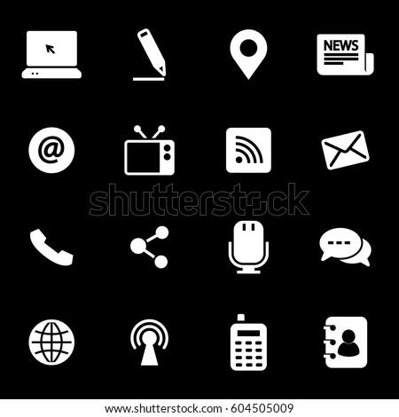 Vector white communication icons set on black background