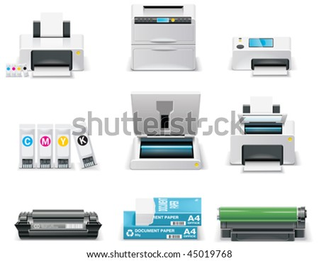 Vector white computer icon set. Part 6. Peripheral - stock vector