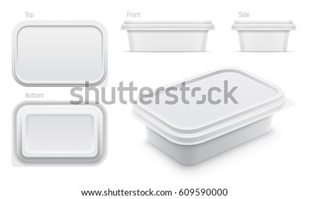 Vector white container for butter, melted cheese or margarine spread. Top, bottom, front, side and perspective views isolated over the white background. Packaging template illustration.