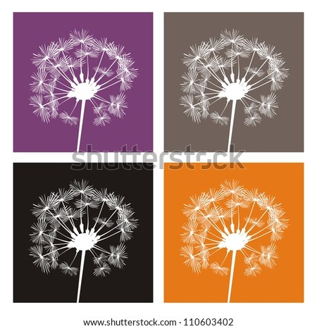 Vector white dandelion silhouette on different, colorful backgrounds. Indian summer or autumn icons, buttons, logo, stickers or other design elements.
