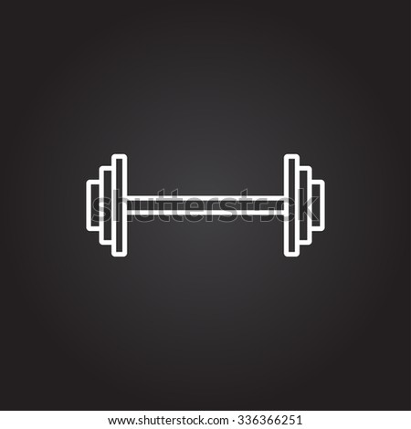 Vector white dumbbell icon on dark background