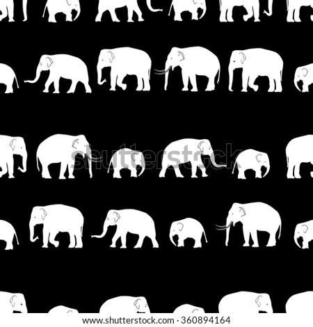 vector white elephants walking