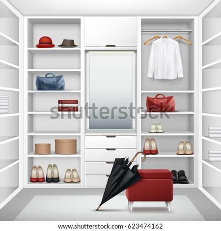 Vector white empty cloakroom closet with boxes, mirror, red pouf, shirt, hats, bags, shoes and black umbrella front view