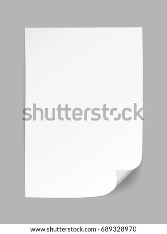 Vector white empty paper with curled corner isolated on grey background