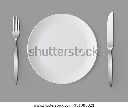 Vector White Empty Round Plate with Fork and Knife Top View Isolated on Background. Table & Dinner Table Setting - Download Free Vector Art Stock Graphics u0026 Images