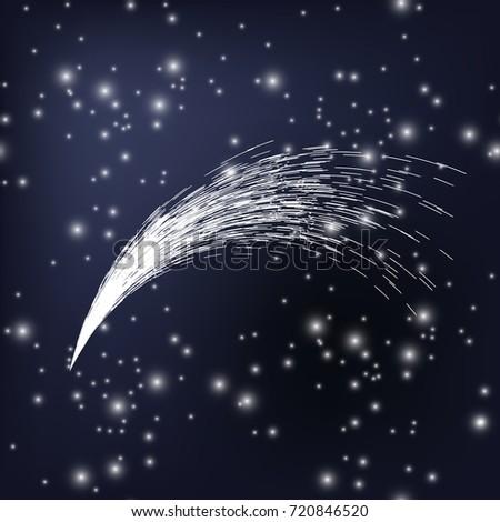 vector white falling star on
