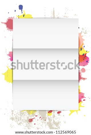 vector white frame paper on splatter background