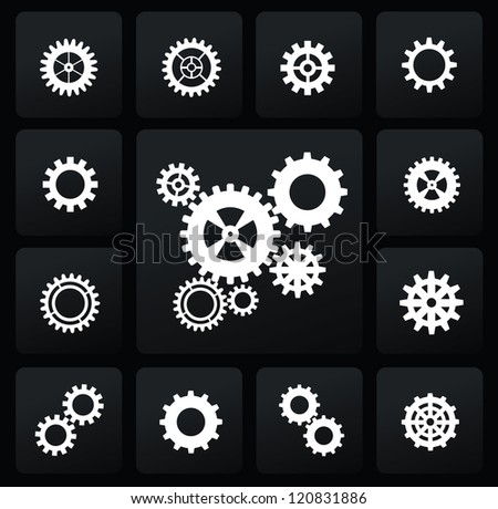 vector white gearwheel mechanism icon set on black