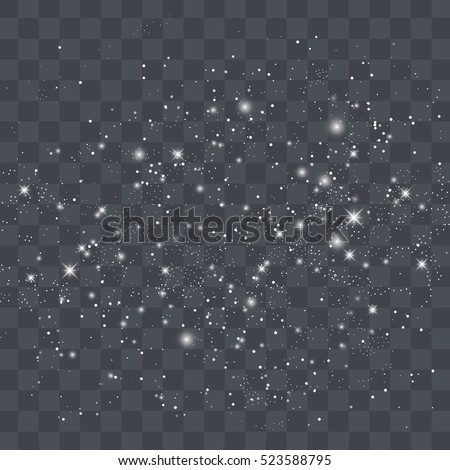 Vector white glitter particles background effect for luxury greeting rich card. Sparkling texture. Star dust sparks in explosion on black background.