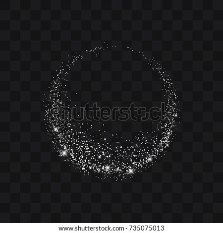 Vector white glitter trail particles background effect for luxury greeting rich card. Sparkling texture. Star dust sparks in explosion on black background. Use for your product element.