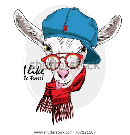 Vector white goat with red glasses, cap and scarf. Hand drawn illustration of dressed goat.