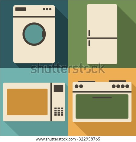 Vector white goods icon set