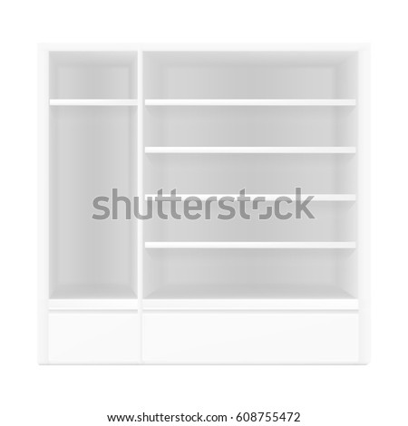 VECTOR: White gray POS POI Outdoor/Indoor 3D Empty Showcase Display on Isolated white background. Mock-up template ready for design.  #608755472