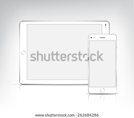 vector white ipad tablet pc and
