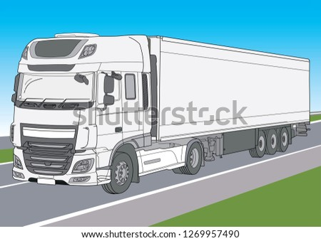 Vector white lorry in motion, white truck on the high way
