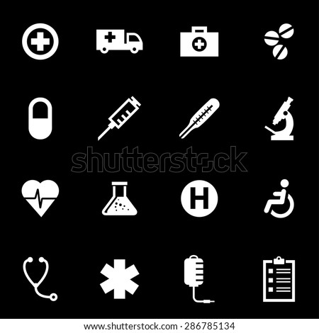 Vector white medical icon set.