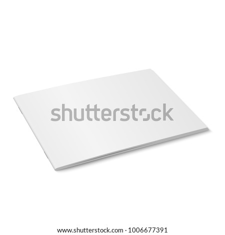 Vector white mock up of magazine isolated. Closed horizontal magazine, brochure, book or notebook template on white background. 3d illustration. Diminishing perspective.