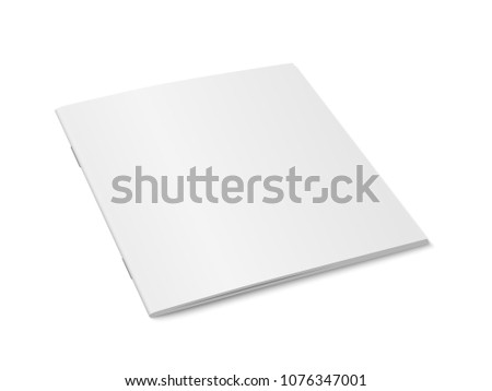 Vector white mock up of magazine isolated. Closed square paperback magazine, brochure, book or notebook template on white background. 3d illustration. Diminishing perspective