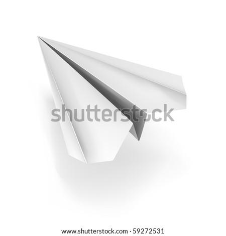 vector white origami plane