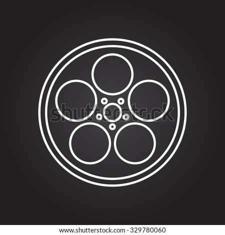 Vector white outline retro bobbin icon on black background  #329780060
