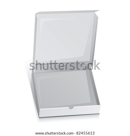 Vector white paper box for pizza.Isolated on white.