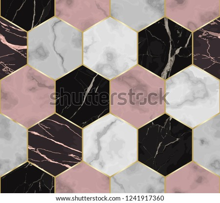 Vector white, pink and black hexagon marble seamless pattern. Repeat chaotic marbling surface with gold geometric elements, modern luxurious background, wallpaper, textile print and tile.