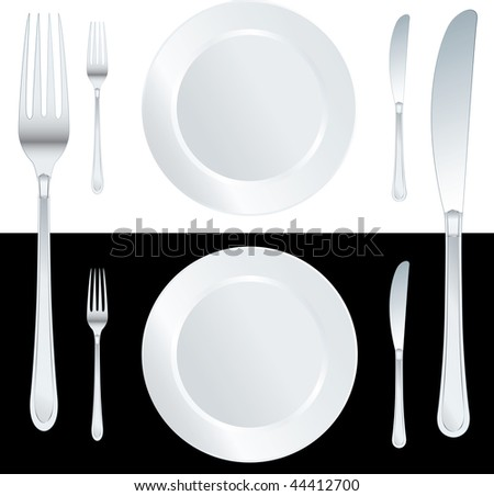 vector white plate with knife and fork