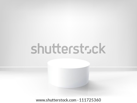 Vector white podium in an empty white room. EPS10 background
