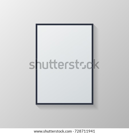 Vector White poster with black frame on grey wall