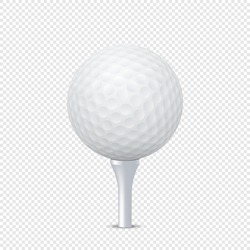 Vector white realistic golf ball template on tee - isolated. Design template in EPS10.
