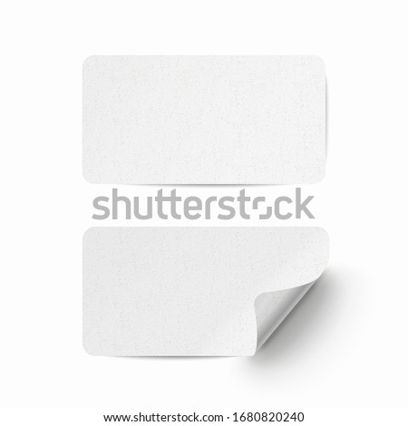 Vector white realistic paper adhesive stickers with curved corner and grain texture on transparent background.