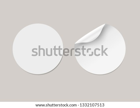 Vector white realistic round paper adhesive stickers with curved corner and shadow. Transparent background. #1332107513