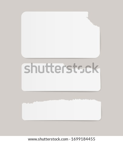 Vector white realistic vitage torn paper adhesive stickers on transparent background.