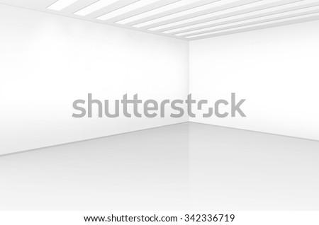 vector white room interior in