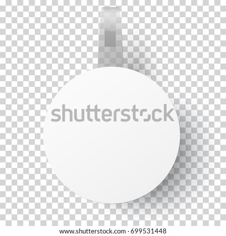 Vector white round self adhesive supermarket shelf paper wobbler with transparent strip, price banner or label isolated on transparent background. Template design. #699531448
