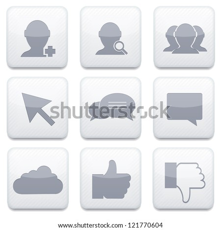 Vector white social Network app icon set. Eps10