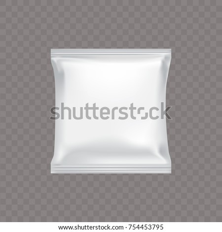 Vector white square plastic packaging for food snacks, chip cookies candy, isolated on a transparent background in a realistic style. The layout design of the package is ready for branding.